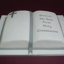 First Holy Communion open Bible cake Communion Book, First Holy Communion Cake, Communion Dresses, Open Book Cakes, Bible Cake, Religious Cakes, Open Bible, Adult Birthday Cakes, Religion