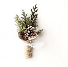 rustic boho green pine boutounniere