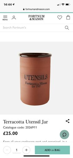 Fortnum And Mason, Utensils, Terracotta, Coding, Jar, Mugs, Tableware, Kitchen, Dinnerware