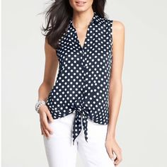 Ann Taylor blouse Navy and white, 100% polyester Ann Taylor Tops Blouses