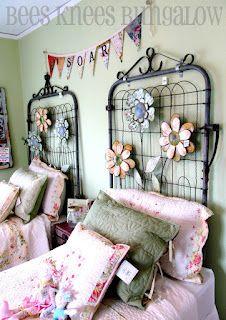 headboard, home interiors, garden gates, garden cottage, hous, vintage metal, modern interiors, old gates, home interior design