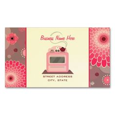 Pink Retro Stove Flowers and Dots Chef Caterer Double-Sided Standard Business Cards (Pack Of 100). Make your own business card with this great design. All you need is to add your info to this template. Click the image to try it out!