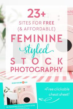 23 Sites for free (and affordable) feminine styled stock photography! See the entire list of resources PLUS download a free clickable cheat sheet you can refer to at anytime you need a flat lay photo to download at http://DesignYourOwnBlog.com!