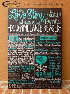 PIN NOW TO FIND LATER! Great idea in lieu of program, too! Custom HandPainted 20x30 WEDDING CHALKBOARD by WhatchawantDesign