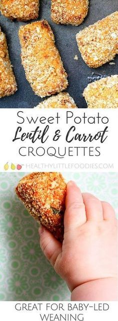 Sweet potato, lentil and carrot croquettes. A great finger food for babies, soft and easy to hold. Great for big kids too. Toddler approved, hidden veg, fussy eater, baby-led weaning. via Healthy Little Foodies