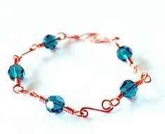 Copper wirework and emerald Swarovski bracelet by Eleksmom on Etsy, $16.00