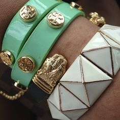 Tory Burch jewelry.  Arm candy.