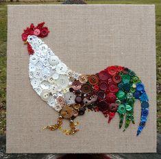 Rooster Handmade Button & Bead Wall Art by BarefootAnCrazy