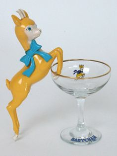 Figure & Glass Vintage Babycham figure cocktail glass from rift-Vintage Babycham figure cocktail glass from rift-