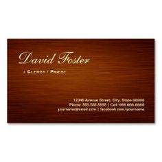 Student Business Cards   Typogr phy   nfogr ph cs    des gn     Clergy   Priest   Wood Grain Look Business Card