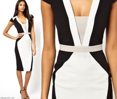 So want this!  Structured pencil dress in color block from Asos