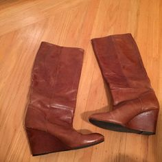 Steven Mazzing Tan Wedge Boots Steven Tan Wedge Boot, some wear on toe, but leather is meant to be distressed, 18 inches from the bottom of the wedge to top of boot. Approx 3 inch heal height. Steven by Steve Madden Shoes