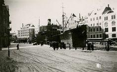 Кёнигсберг. Набережная Кнайпхофа у Кузнечного моста, фото ок. 1935 года.