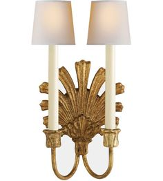Visual Comfort E.F. Chapman Marlborough 2 Light Decorative Wall Light in Gilded Iron with Wax CHD1126GI