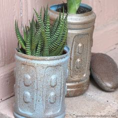 Bespangled Jewelry: Upcycled Plastic Water Bottle Planters {+ a Cool Spray Painting Technique!}