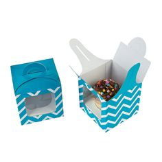 Turquoise Chevron Cupcake Boxes with Handle - OrientalTrading.com