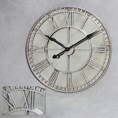 extra large silver clock wt antiqued mirrored face roman numerals - Mirrored Wall Clock