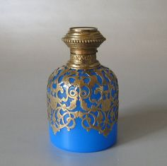 Antique Blue Opaline Perfume Bottle with Miniature Painting ~ Grand Tour