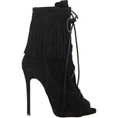 Giuseppe Zanotti Fringe Lace-Up Ankle Boots ($1,295) ❤ liked on Polyvore featuring shoes, boots, ankle booties, heels, giuseppe zanotti, ankle boots, colorless, black heel boots, leather booties e black leather bootie