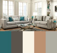 Teal, gray, sand, charcoal, ivory color palette for living room. The sleek & stylish Paradigm Quartz sofa & love is the perfect center piece for a sharp color palette with a pop of color. Teal Grey Living Room, Living Room Decor Colors, Living Room Color Schemes, Living Room Paint, Home Living Room, Living Room Furniture, Living Room Designs, Charcoal Sofa Living Room, Teal Furniture