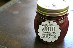 Wedding favor tags, canning tags, 50. Jam Packed with Love design, hearts and berries. Perfect for jam jar favors..
