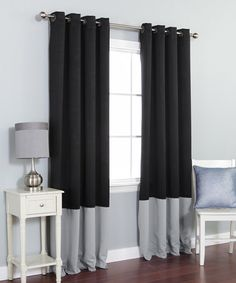 Love this Black & Gray Color Block Blackout Curtain Panel - Set of Two by Best Home Fashion on #zulily! #zulilyfinds
