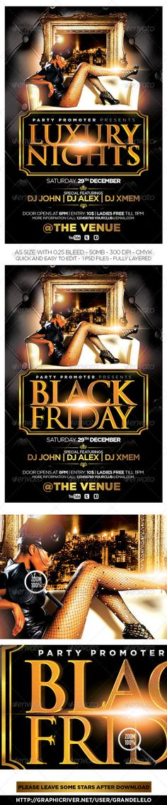 Luxury Nights / Black Friday Flyer   #GraphicRiver