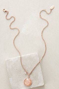 Button Pendant Necklace in Rose Gold by Indulgems from anthropologie.