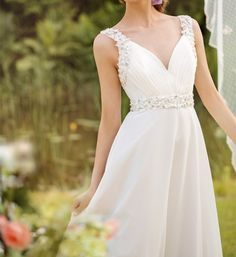 Sexy V Neck Cheap Beach Wedding Dresses With Beaded Belt Floor Length Chiffon Wedding Dress A Line Affordable Wedding Gowns Best Bridal Dresses From Mygirl621621, $89.45| Dhgate.Com
