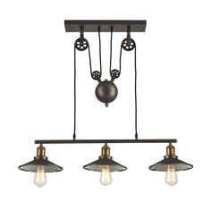 Vintage Barn Pendant Light Fixture 3 Lights, Metallic Gray/Antique Brass