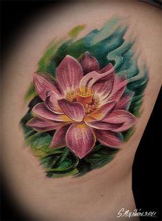 lotos by ~MyskowSlawek Lotus Tattoo Design, Flower Tattoo Designs, Top Tattoos, Cover Up Tattoos, Body Art Tattoos, Tatoos, Realistic Lotus Tattoo, Water Lily Tattoos, Chakra Tattoo