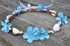 Seashell Crown,Blue Flower Crown,Blue Flower and Shell,Wedding Flower Crown,Bridal Flower Crown,Beach Wedding Crown,Shell and Pearl Crown by SilverDoveJewelry on Etsy https://www.etsy.com/listing/194891939/seashell-crownblue-flower-crownblue
