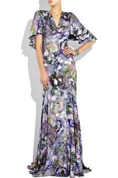 Alexander McQueen Peony-print crepe gown...in love with this gown, love purple