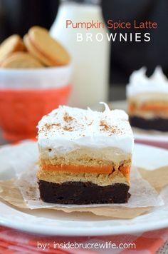 Pumpkin Spice Latte Brownies - layers of pumpkin brownies, Pumpkin Spice Oreo cookies, and no bake coffee cheesecake make the perfect fall dessert.