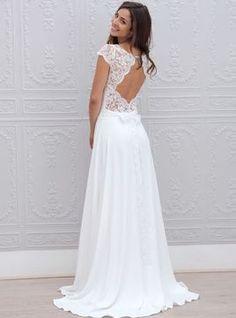 Vestido de noiva linha-A/princesa decote de ilusão/escova com renda