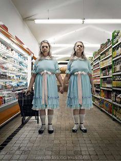 Let nature run its course on the silver screen, and you'll have Federico Chiesa's imaginings of fairly horrific 80s movie characters getting on with age, that thief of time. The creepy twins from The Shining are now grannies shopping at the supermarket while Halloween's Michael Myers must now resort to using a walking frame to creep up on victims.