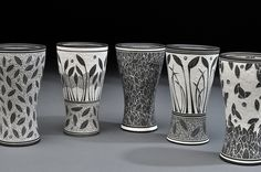 lloyd pottery sgraffito cups