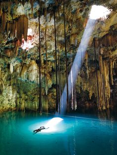 Cave Lake, Yucatan, Mexico. Lots of caves in this area. Cave diving is popular. Go to www.YourTravelVideos.com or just click on photo for home videos and much more on sites like this.
