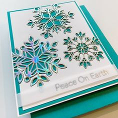 Stamped Christmas Cards, Christmas Paper Crafts, Christmas Cards To Make, Xmas Cards, Diy Cards, Holiday Cards, Christmas Ideas, Snowflake Stencil, Snowflake Cards