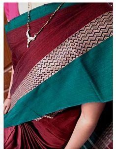 Indian Traditional Handloom Sarees: Narayanpet Maroon Color Cotton Saree with Green bo...