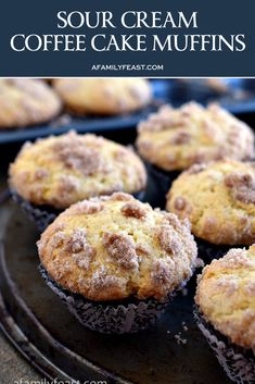Sour Cream Coffee Cake Muffins - The perfect breakfast muffin! Super moist and d.Sour Cream Coffee Cake Muffins - The perfect breakfast muffin! Super moist and delicious thanks to sour cream in the batter and a sweet streusel is baked inside the m Gourmet Recipes, Baking Recipes, Sweet Recipes, Cake Recipes, Dessert Recipes, Orange Recipes, Fall Desserts, Health Desserts, Brunch Recipes
