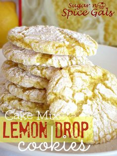 Cake Mix Lemon Drop Cookies from sugar-n-spicegals. These are so easy and super delicious! Anyone can make them :) easy dessert recipes Pistachio Pudding Cookies, Lemon Cake Mix Cookies, Lemon Drop Cookies, Lemon Cake Mixes, Lemon Crinkle Cookies, Lemon Sugar Cookies, Cake Box Cookies, Lemon Cakes, Drop Cake