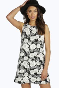 Tara Floral A- Line Shift Dress at boohoo.com