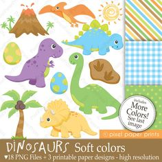 Dinosaurs (Soft colors) - Digital - Printable paper and clip art set. $5.00, via Etsy. Use  to make dinosaur activities to send home in Sully Saurus Backpack.