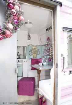 A tiny vintage camper gets a holiday makeover.