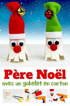 Grâce à un gobelet en carton et de la feutrine les enfants pourront s'amuser à fabriquer des jolis Père Noël pour décorer la maison pour les fêtes de fin d'année. Une activité facile qui permettra aux enfants de faire leurs premiers pas avec le pistolet à colle, un outil très pratique pour réaliser des collages instantanés ! Collages, Ronald Mcdonald, Snowman, Disney Characters, Fictional Characters, Winter, Easy Diy, Bricolage Noel, Easy Crafts
