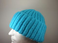Turquoise Adult Hat  Womens Hand Knit Acrylic Beanie  Mens