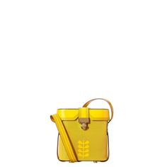 Orla Kiely: Glossy patent leather structured 'binocular' style bag with lid and turnlock to close. Punched details on main body of bag. Long adjustable strap so bag can be worn cross body. Gold colored hardware. Inside details include jacquard lining, and a small patch pocket.