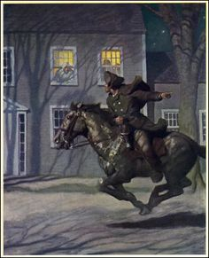 """Ran through the town warning the colonists of the British invasion. This was known as """"The Midnight Ride of Paul Revere"""". Paul Revere was also big Patriot Leader. American Revolutionary War, American War, Early American, American History, Paul Revere's Ride, Nc Wyeth, Sneak Attack, Colonial America, Wow Art"""