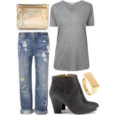 W/ Gray by me - hmhm on Polyvore   **minus the boots, add some chucks or sandles (: